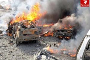 تصویر از انهدام ۲ خودروی بمب گذاری شده داعش در عراق