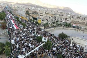 تصویر از تظاهرات گسترده یمنی ها در اعتراض به جاسوسان و مزدوران سعودی