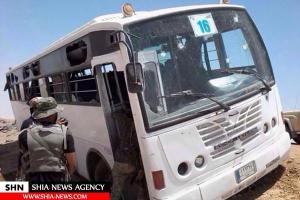 تصویر از وقوع انفجار در مسیر حرکت مینی بوس حامل رزمندگان الحشد الشعبی+ تصویر