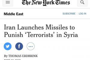 تصویر از تیتر جالب نیویورک تایمز در مورد حمله موشکی ایران به داعش