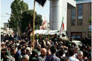 تصویر از پیکر مطهر  شهید مدافع حرم در اردبیل تشییع شد