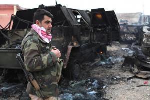تصویر از زخمی شدن ۳ نیروی پیشمرگه در کرکوک عراق