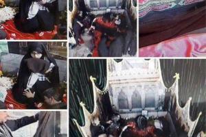 تصویر از عبای رهبر معظم انقلاب در محل دفن شهید حججی قرار گرفت/ همسر شهید در حال قرائت قرآن منتظر همسر شهیدش +تصاویر