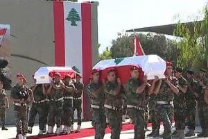 تصویر از مراسم تشییع پیکر نظامیان لبنانی در بیروت برگزار شد