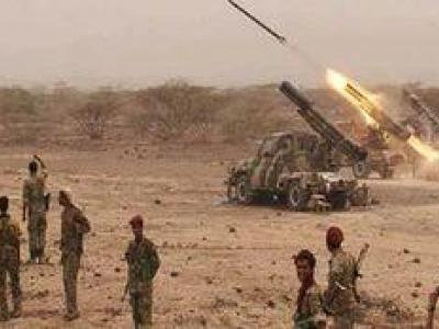 تصویر از حمله موشکی نیروهای یمنی به مزدوران سعودی