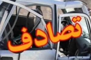 تصویر از برخورد شدید دو خودرو پراید در اتوبان شهید باکری