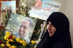 تصویر از قدردانی همسر شهید مدافع حرم از مردم قم