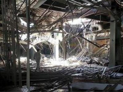 تصویر از انبارهای مواد غذایی یمنیها در آتش سوخت