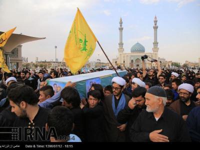 تصویر از پیکر مطهر شهید مدافع حرم در قم تشییع شد