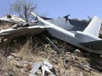تصویر از انهدام پهپاد جاسوسی ائتلاف سعودی در ساحل غربی یمن