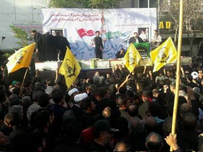 تصویر از پیکر های ۱۱ شهید گمنام و مدافع حرم در مشهد تشییع شد