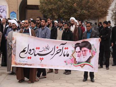 تجمع طلاب و روحانیون یزدی در اعتراض به جنایات آلسعود در یمن/ تصاویر