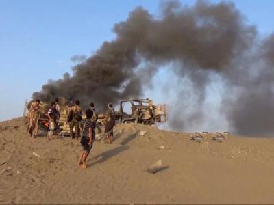 تصویر از ضربه شست نیروهای یمنی به مزدوران سعودی در استان الجوف با قدرت نمایی پهپادهای «قاصف ۱»