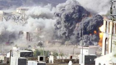 تصویر از حمله موشکی متجاوزان به بیت الفقیه و الظاهر یمن