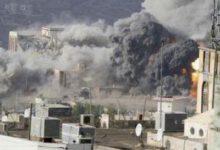 تصویر از بمباران «صعده» یمن توسط جنگندههای سعودی