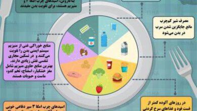 تصویر از اینفوگرافیک / مواد غذایی مفید برای تقویت بدن در برابر آلودگی هوا